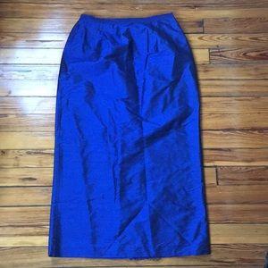Vintage Royal Blue Silk Maxi Skirt size 10